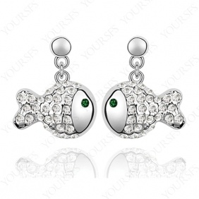Gorgeous 18K White Gold P Fish Pendant Chandelier Earring USE Swarovski Crystal E129W3