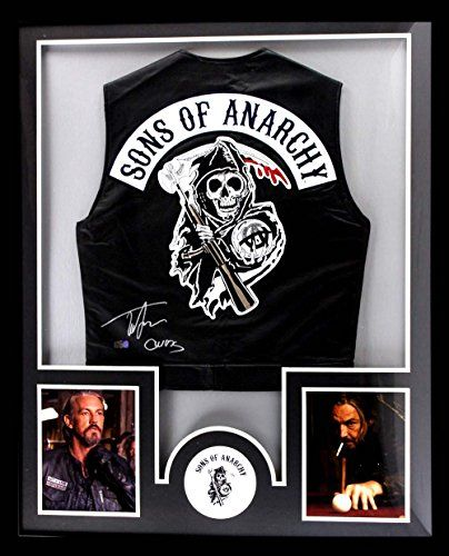 Tommy Flanagan Autographed/Signed Officially Licensed Sons Of Anarchy Framed Black Biker Vest With Chibs Inscription @ niftywarehouse.com