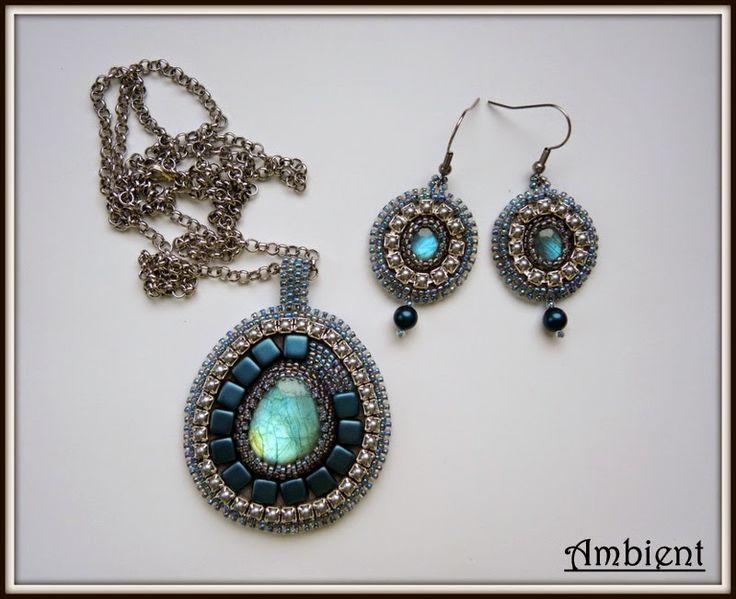 Ambient: # 83 kolczyki i wisior z labradorytem Set: earrings and pendant with labradorites