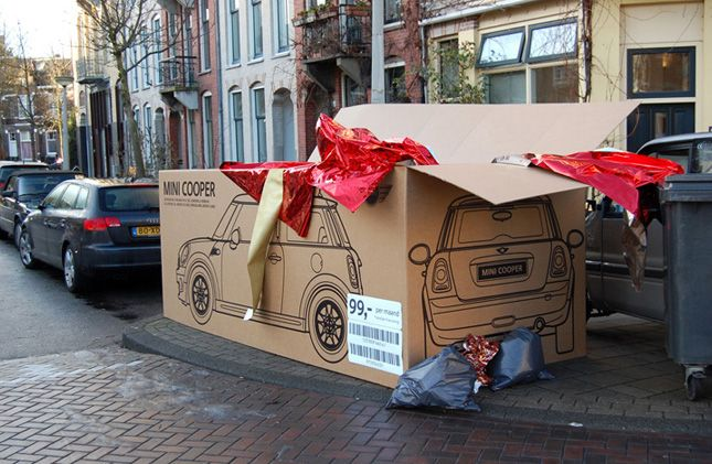 This advertising for BMW Mini is fantastic. The packaging was put out on the street with rubbish in Amsterdam after Christmas to look like someone had received a boxed and wrapped mini.