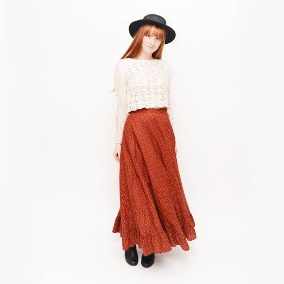 Vintage 1970s Prairie Boho Maxi Brown Floral Skirt by TheWanderly
