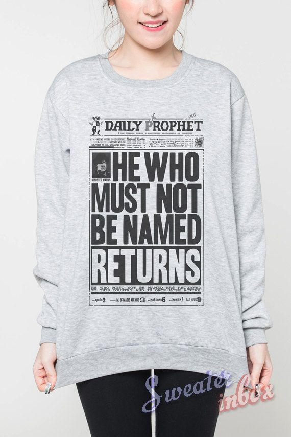 Daily Prophet Harry Potter Sweater Newspaper Movie Grey Women T-Shirt Tshirt Sweatshirt Tee Jumpers Unisex Shirts Size S M L