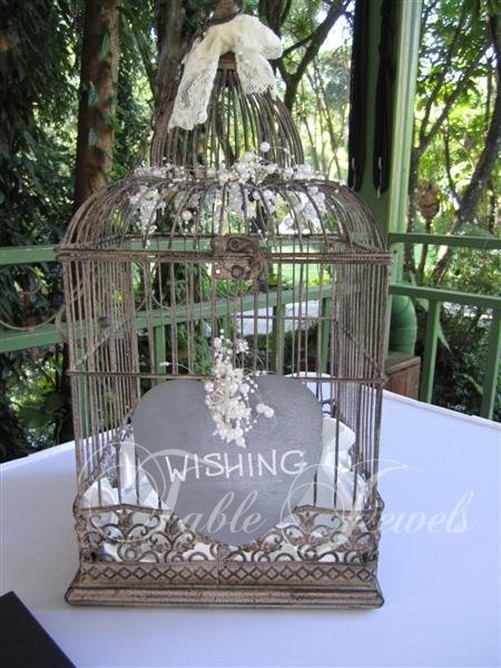 if i can't find enough cheap bird cages for centrepieces, i could have only one as a wishing well...