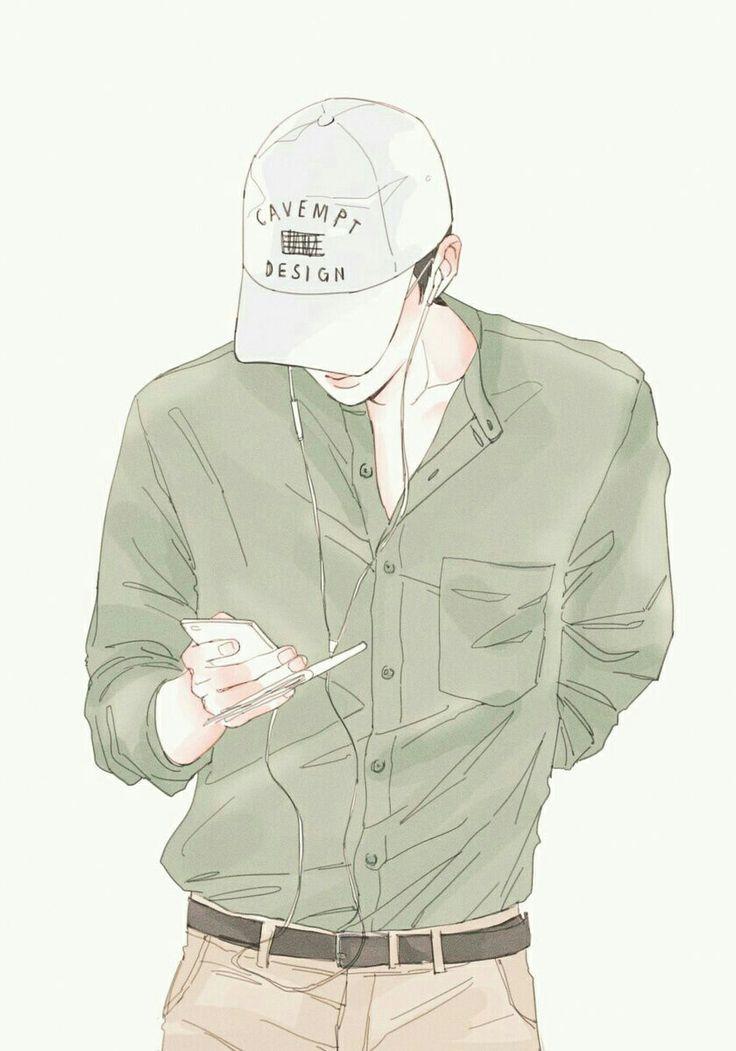 drawing~desenho~art k-pop~guy style~inspiração~boné anime