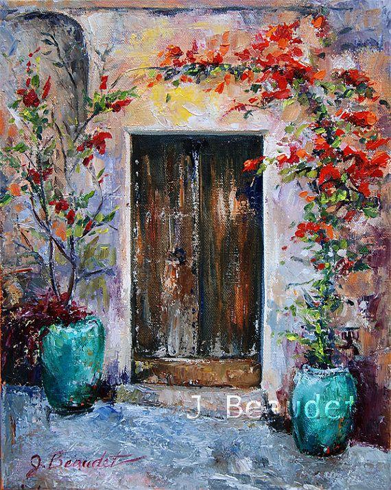 Original Oil Painting Paletteknife Italy Door By