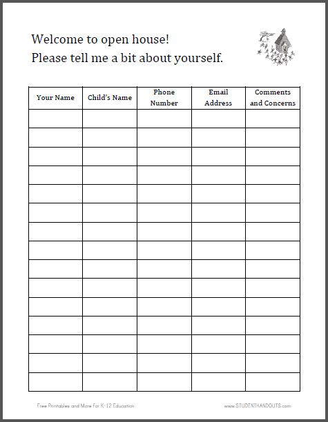 Sign-in Sheet for Open House Free to print (PDF file) K-12