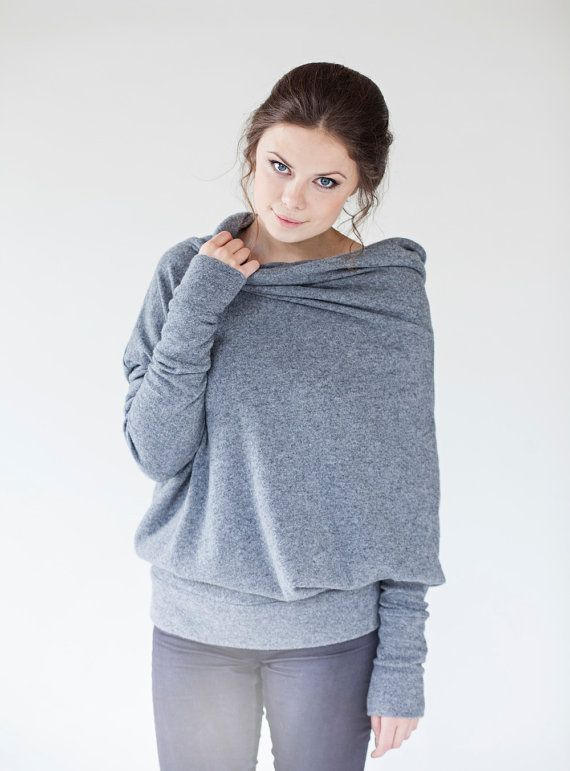 Grey woolen LeMuse asymmetric sweater with buttons by LeMuse