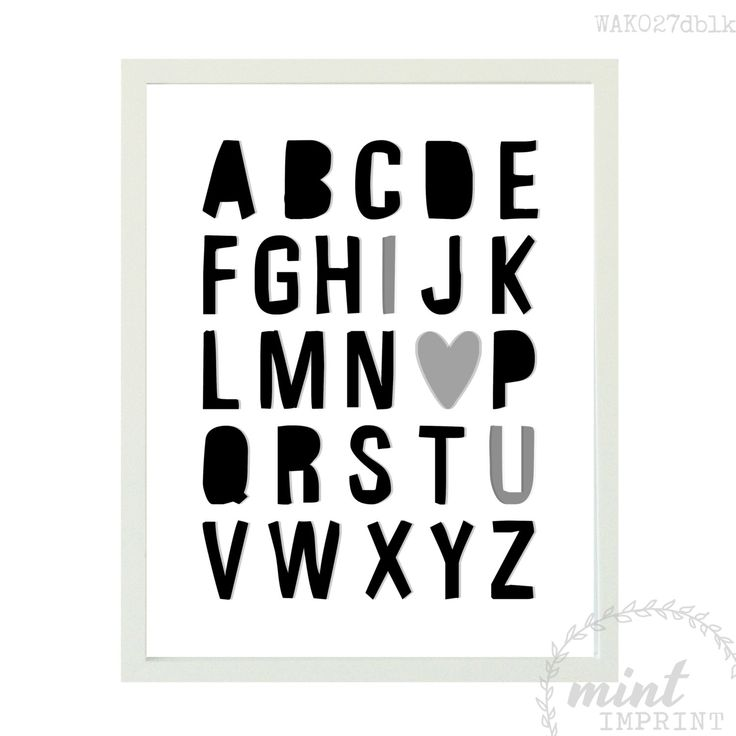 Alphabet Wall Print / Block Monochrome Alphabet Wall Art / Monochrome Girls Room / Monochrome Boys Room / Black and White Nursery Print by MintImprint on Etsy https://www.etsy.com/listing/213103025/alphabet-wall-print-block-monochrome