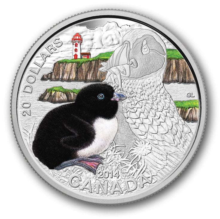 2014 $20 1 oz. Fine Silver Coin - Baby Atlantic Puffin - Mintage: 7,500 (2014)