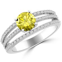 Unique Canary Yellow Diamond Engagement Ring 18k Gold