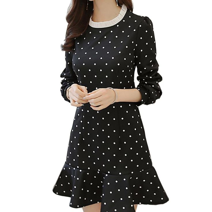 Black Polka Dot Printed Long Sleeve Casual Long-sleeved Dress - Polka Dotted All The Things - Shop Now