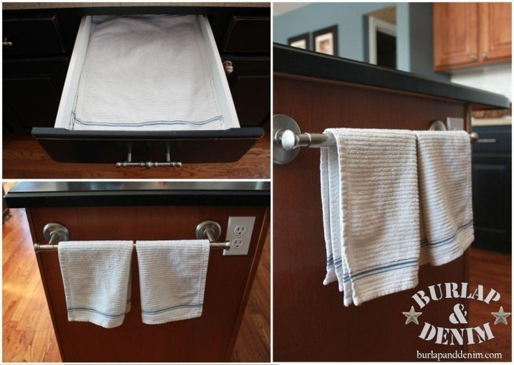 towel bar on the side of the island - Kitchen Towel Bars Ideas