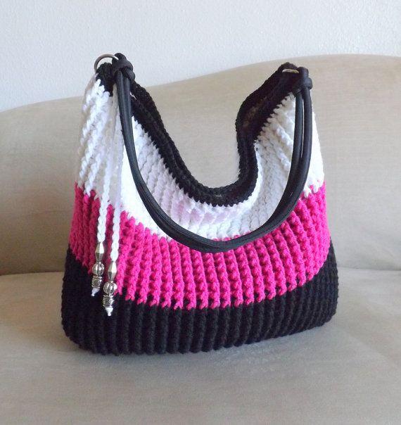 Crochet over sized shoulder bag beaded bag crochet by MyNicePurses, $65.00