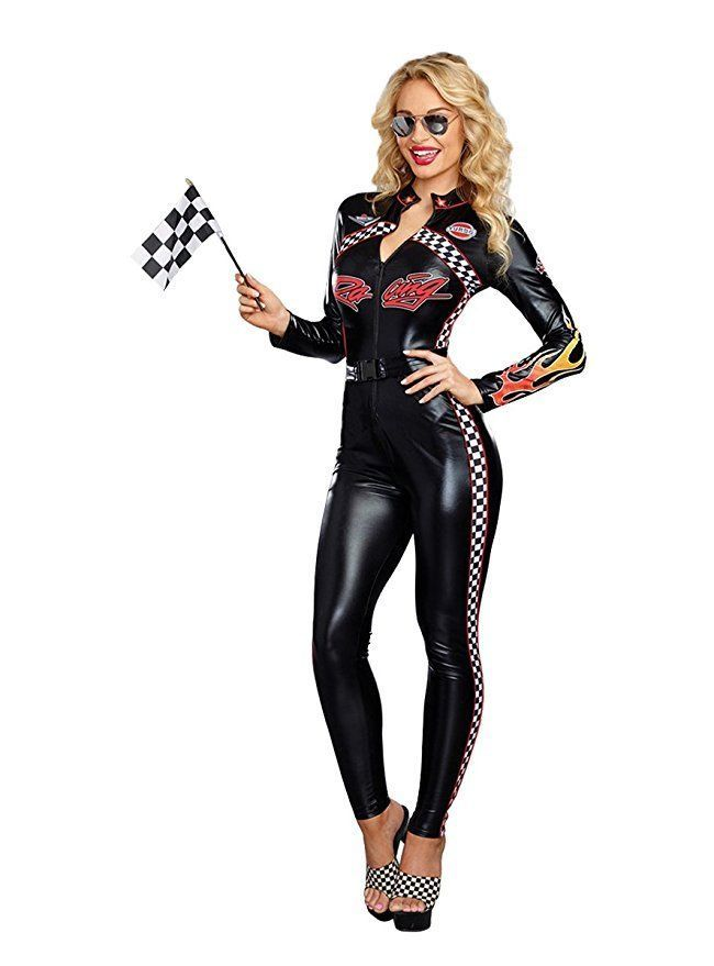 Womens Sexy Race Car Jumpsuit Costume Racer Girl Uniform Black Bodysuit With Gloves Tube Tops Sexy Costumes Costumes & Accessories