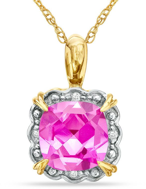 Zales 8.0mm Cushion-Cut Amethyst and Diamond Accent Frame Pendant in 10K Gold PLTvk8TpFq
