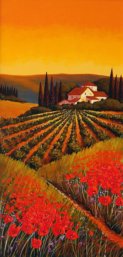 Vineyard at Sunset in Tuscany by Guiseppe Pino ~ oil on canvas ~ poppies