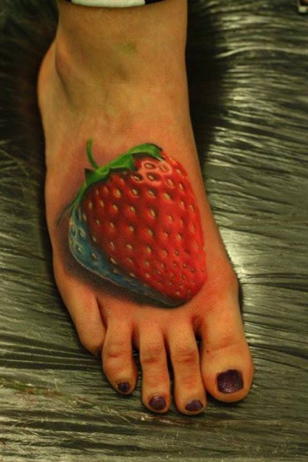 Strawberry Tattoo red blue green 3D foot  - http://tattootodesign.com/strawberry-tattoo-red-blue-green-3d-foot/  |  #Tattoo, #Tattooed, #Tattoos
