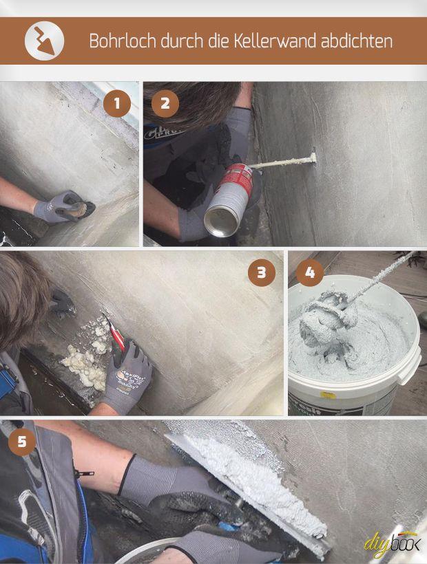 Bohrloch durch die Kellerwand abdichten
