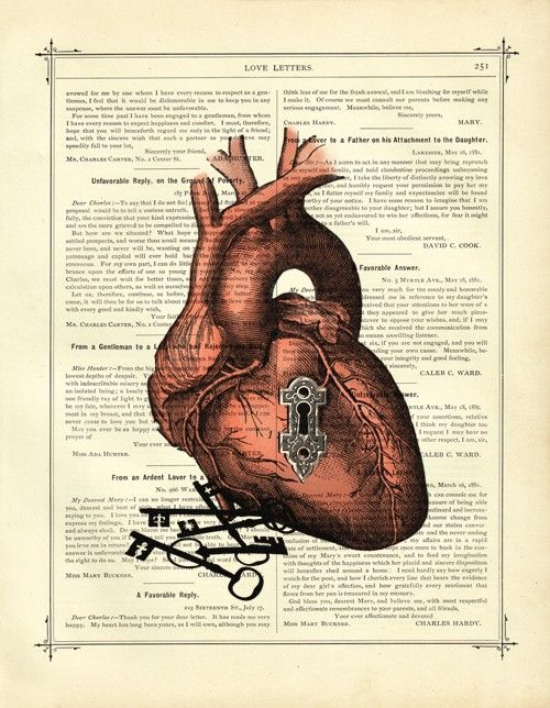 Valentine Anatomical Heart with Keyhole and Key by curiousprintery