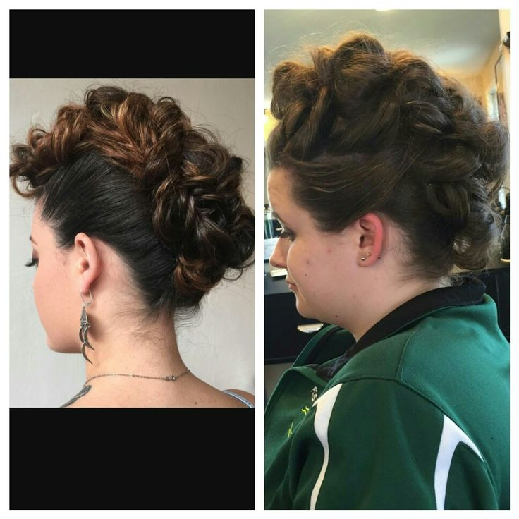 Updo by Carly, left picture is the inspiration  #updo #mohawk #prom