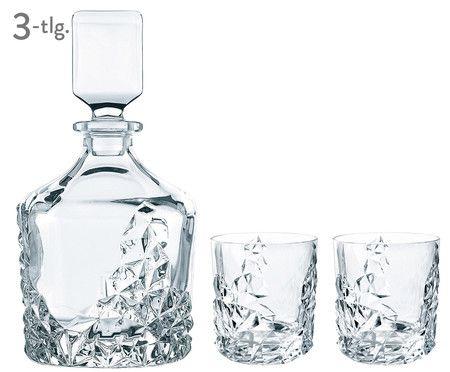 Kristallglas-Whisky-Set Sculpture, 3-tlg.