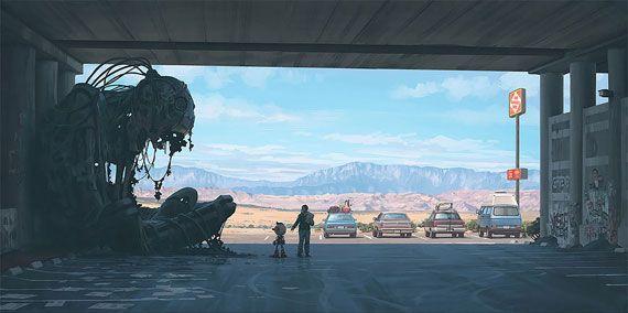 国際的に有名なスウェーデンのコンセプトアーティストSimon Stålenhag(シモン・ストーレンハーグ)さんの新しい作品集がkickstarterで資金集めに成功し、Kickstarterで支援した方に作品集が送られます。 この作品集は、少女と彼女のロボットが90年代のアメリカを旅する光景を描いたものです。 風景自体は90年代のアメリカではありますが、宇宙基地のような建造物や奇妙なヘッドセットを付けた人物、おもちゃのような巨大なロボットなどが描かれています。 SF的な要素が90年代のアメリカの風景と融合されており、とても不思議な風景を作り出します。 The Electric State - Simon Stålenhag's New Narrative Artbook