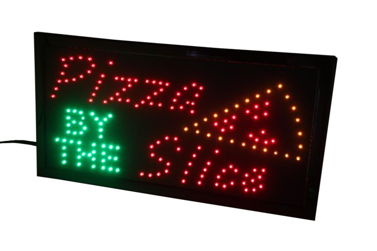 """Fixture Displays """"Pizza BY THE Slice"""" Animated LED Sign with Hanging Chain 16965"""