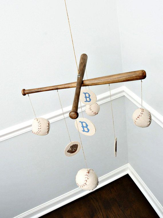 Baseball Nursery Mobile  Vintage Style by CottonToMetal on Etsy, eeeeeekkkkk can't decide on baseballs or robots for this boys nursery! But this Brooklyn Dodgers mobile is really making me lean towards baseball!