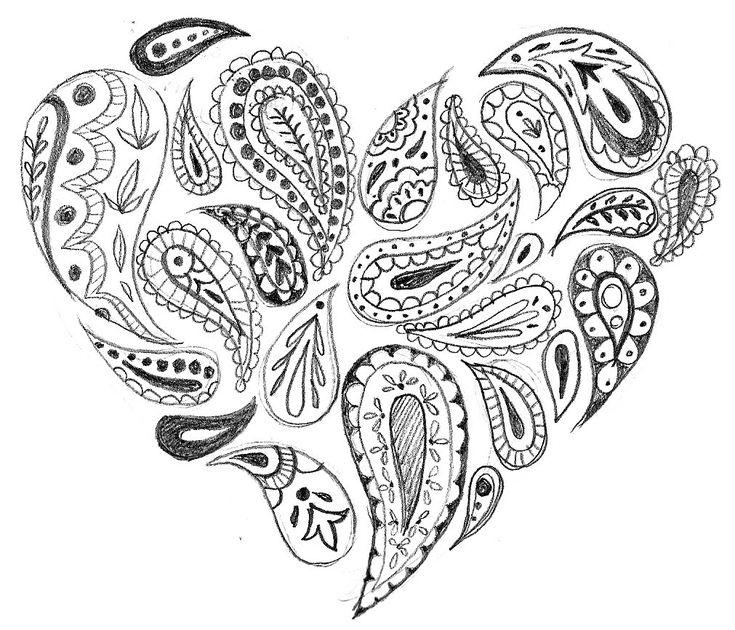 whimsical heart clip art paisley heart clip art pinterest coloring zentangle patterns. Black Bedroom Furniture Sets. Home Design Ideas