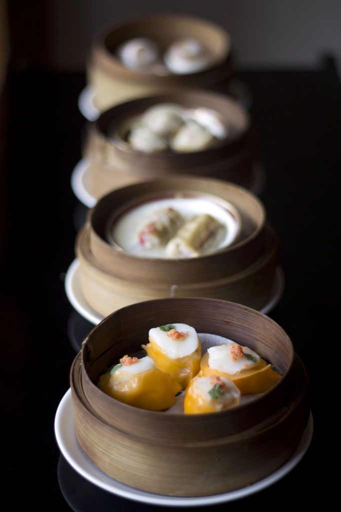 Asian Cuisine dishes served in a Yum Cha restaurant. Featuring egg rolls, dim sim..
