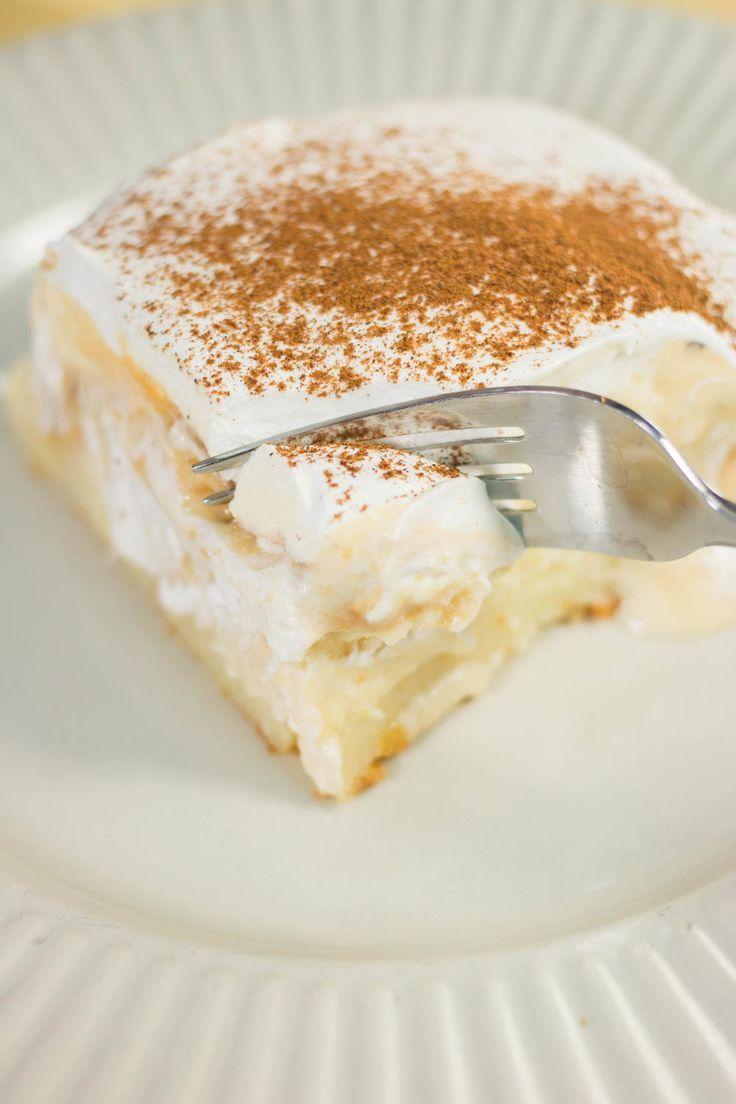 Eggnog Pudding Poke Cake (be sure to use gluten cake mix, etc)
