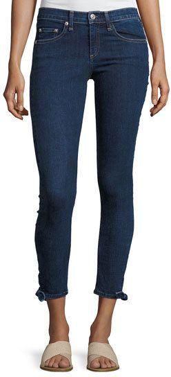 Rag & Bone Steve Paz Mid-Rise Tie Hem Capri Jeans