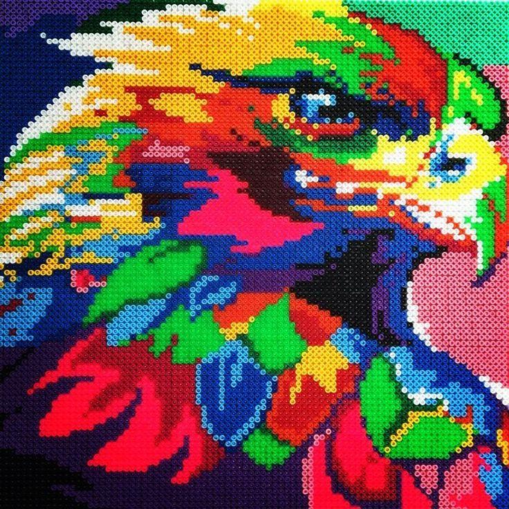 Rainbow eagle perler beads by mejormanu