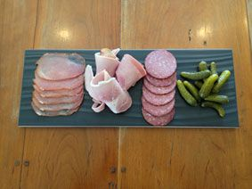 Butchers Plate ($12) - local, traditionally smoked smallgoods served with dill cornichons.