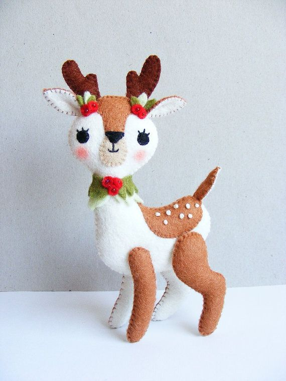 PDF pattern Christmas fawn felt softie Christmas by iManuFatti