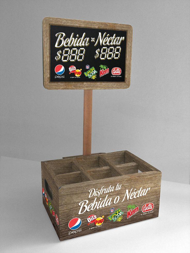 Diseño exhibidor de bebidas express sobre mesón.