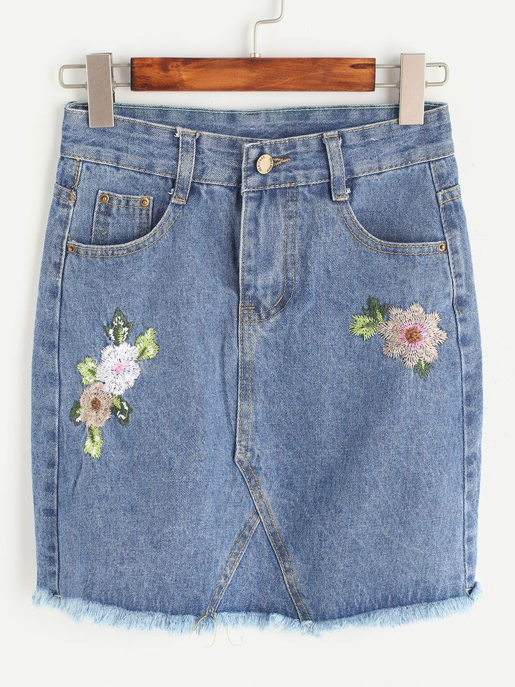 Shop Blue Flower Embroidered Raw Hem Denim Skirt online. SheIn offers Blue Flower Embroidered Raw Hem Denim Skirt & more to fit your fashionable needs.