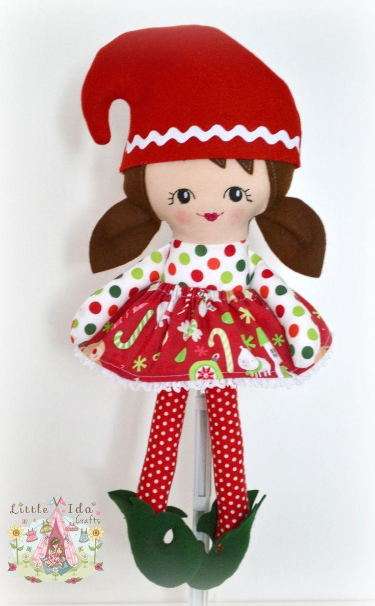 Girl Elf, Christmas Doll, Santas Little Christmas Helper, Baby doll, Handmade Rag Doll, Elf on a Shelf, Soft Cloth Doll by littleidacrafts on Etsy