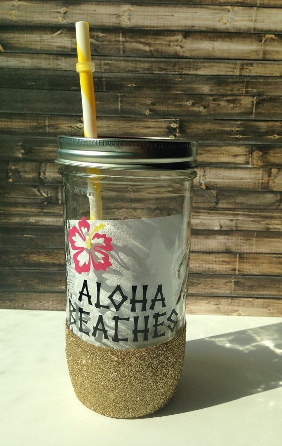 Hand washable glittered Mason jar tumbler//Aloha by TheJargonBar