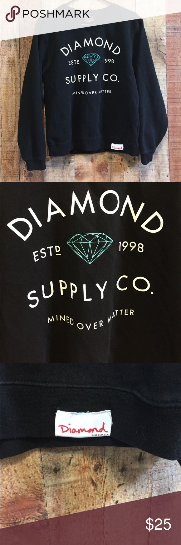 Diamond Supply Company Sweatshirt Black Diamond Supply Company sweatshirt. Writing is in white with turquoise diamond. In great shape. Some normal pilling along the bottom ribbing but nothing noticeable.   80% Cotton / 20% Polyester  Machine Wash Cold / Line Dry  Size M BUT fits like a Small Diamond Supply Co. Tops Sweatshirts & Hoodies