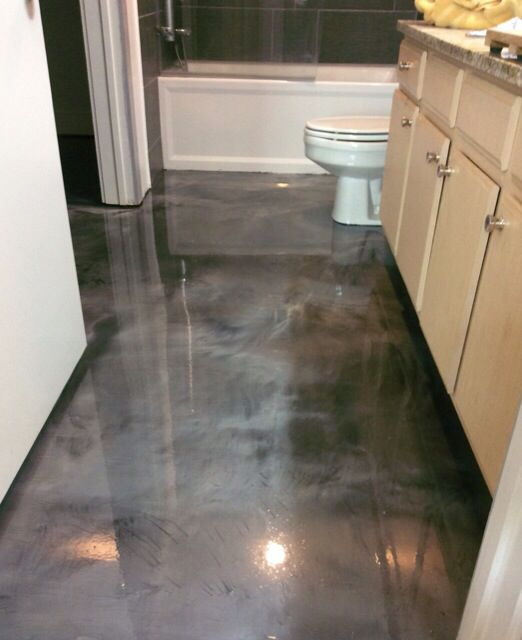 Metallic epoxy floor in a restroom. #metallicepoxy