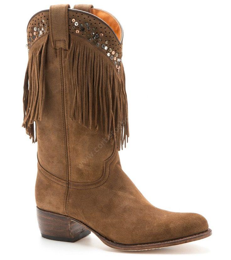 8917 Debora Bronx Light Rovere | Bota vaquera Sendra cuero marrón con flecos para mujer