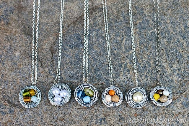 DIY Bird Nest Necklace. So simple, yet beautiful! Gotta try making these!