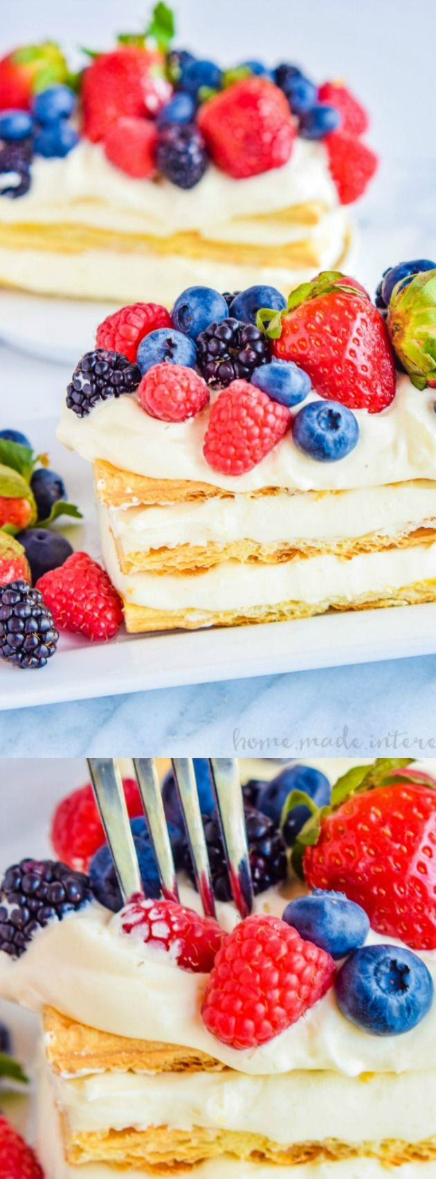 This Lemon Berry Napoleon from Home Made Interest is the ultimate lemon dessert. Piles of creamy lemon mousse are sandwiched between light and flaky puff pastry and topped with fresh berries!