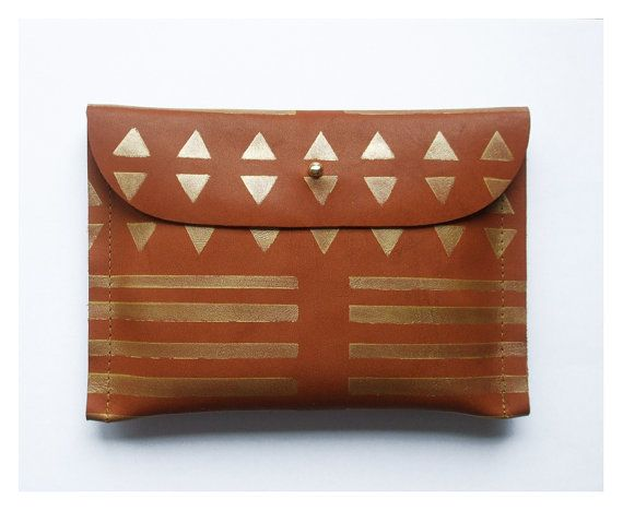 CLUTCH // small size // brown leather with golden print