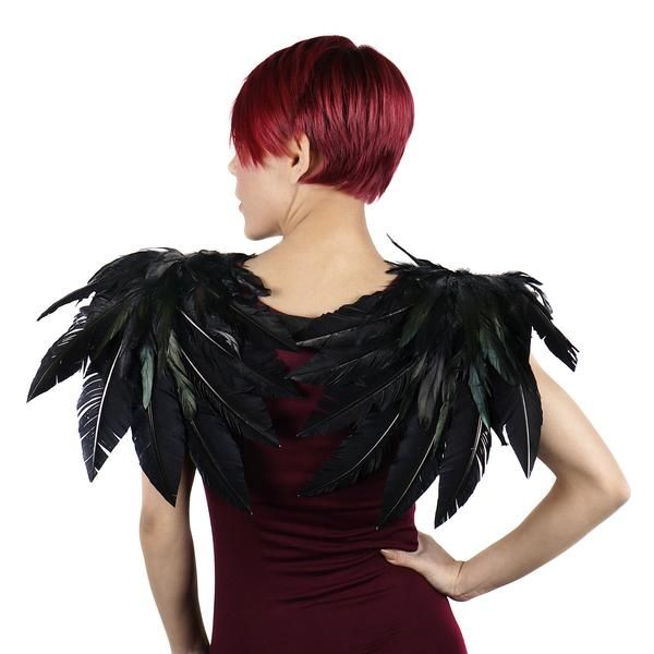 Over the Shoulder Crow Feather Wings measure approximately 27x19 inches and are made with dyed Rooster Schlappen and Turkey Quill Feathers. Made to be flexible