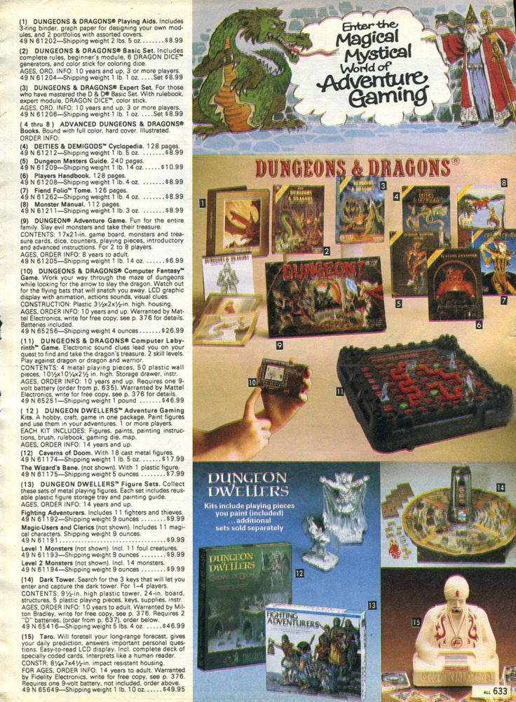Dungeons And Dragons Board Game 80s