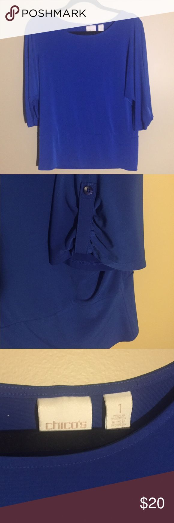 Chico's beautiful blue top size 1 / medium Hardly worn and beautiful blue. Batwing sleeve. Size 1 in Chicos sizes. Fits like medium; 96% polyester, 4% spandex. Chico's Tops Blouses