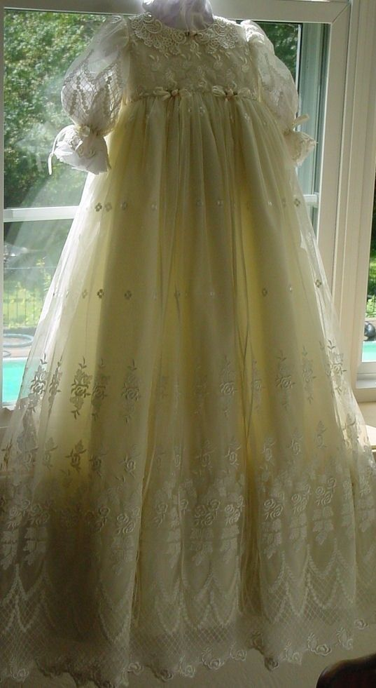 Ivory Victorian Lace, christening gown,cap,bib and personalization. LAST ONE !