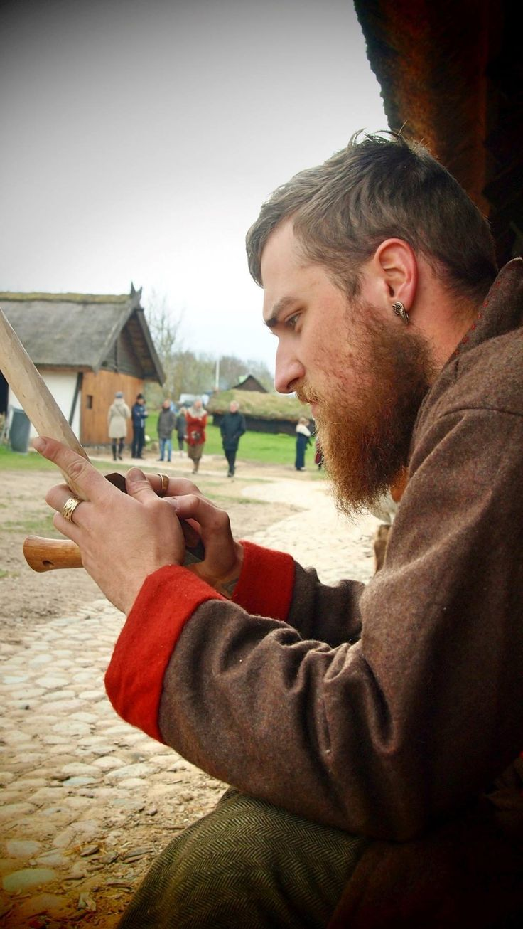 making my self a walking stick at trelleborg viking fortress